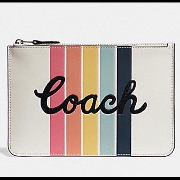 Coach Handbags - NWT Coach 🌈 Leather Pouch / Clutch